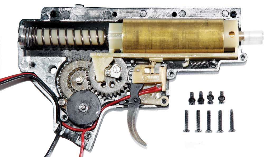 know your gearbox a closer look at the standard m4 v2 gearbox rh airsoftinsider com Airsoft Gearbox Diagram 1911 Parts Diagram